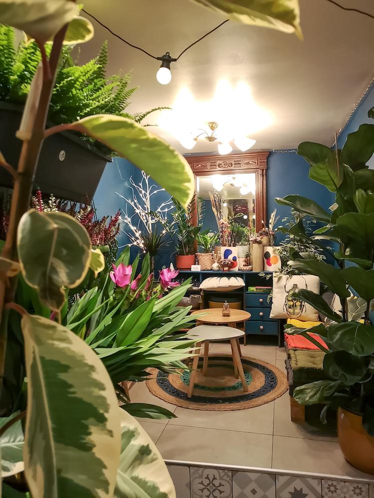 Prenez le temps de descendre au sous-sol de Capsule végétale pour vous installer dans le petit salon végétalisé