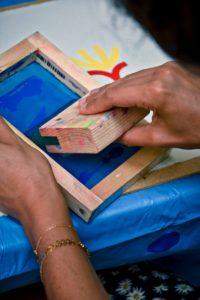 Atelier de sérigraphie par Bitono lors de la première après-midi créative de Au boulot cocotte #toulousecreative