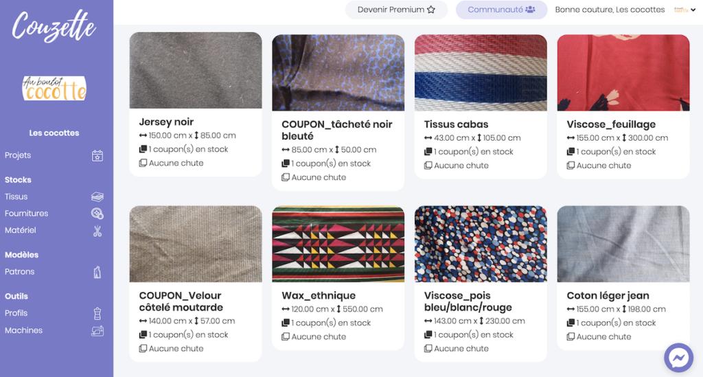 Avec Couzette app, on peut également voir le stock de tissus que nous avons pour nos projets couture.