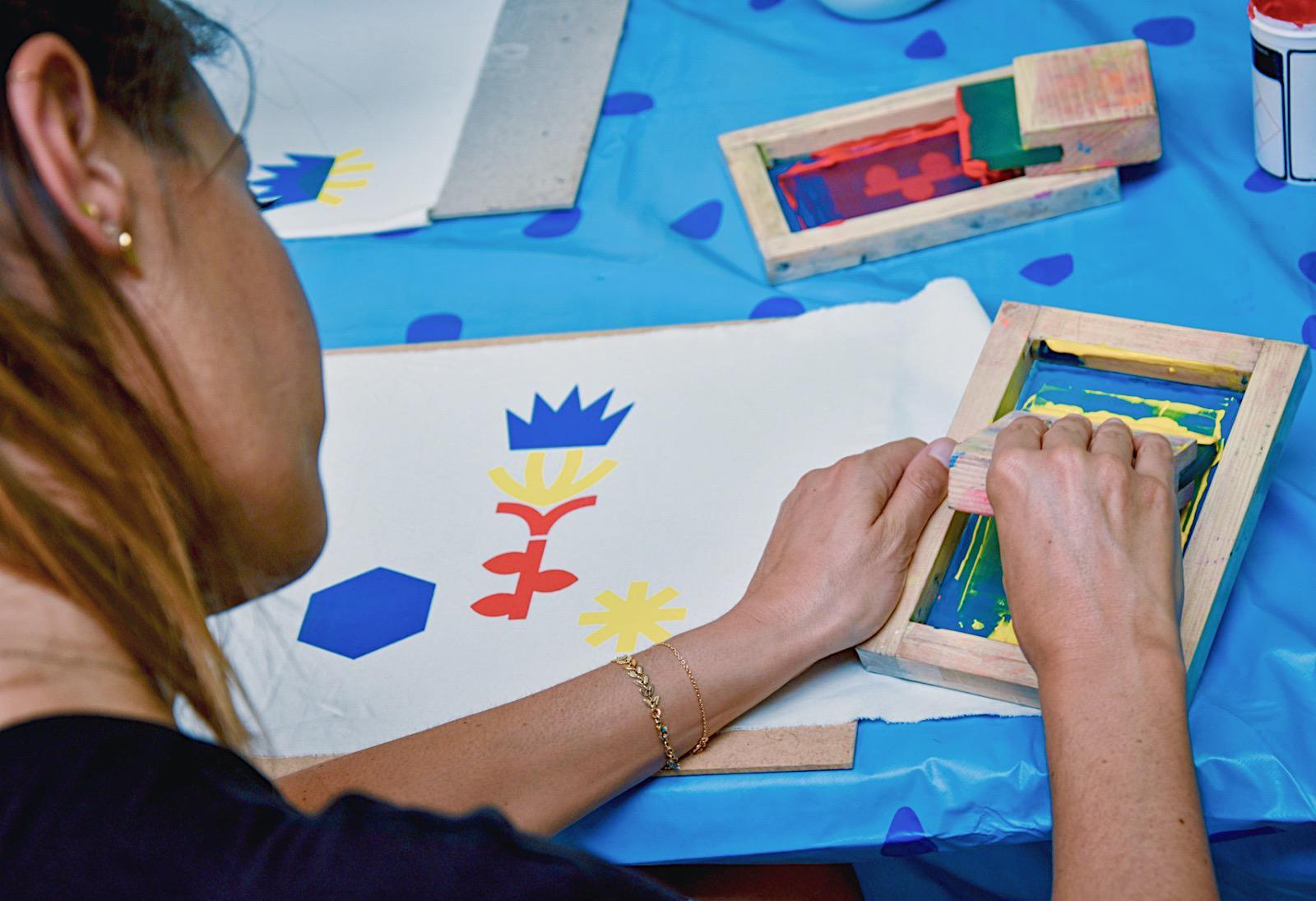 A la découverte de la sérigraphie lors de l'après-midi créative de Au boulot cocotte en atelier DIY