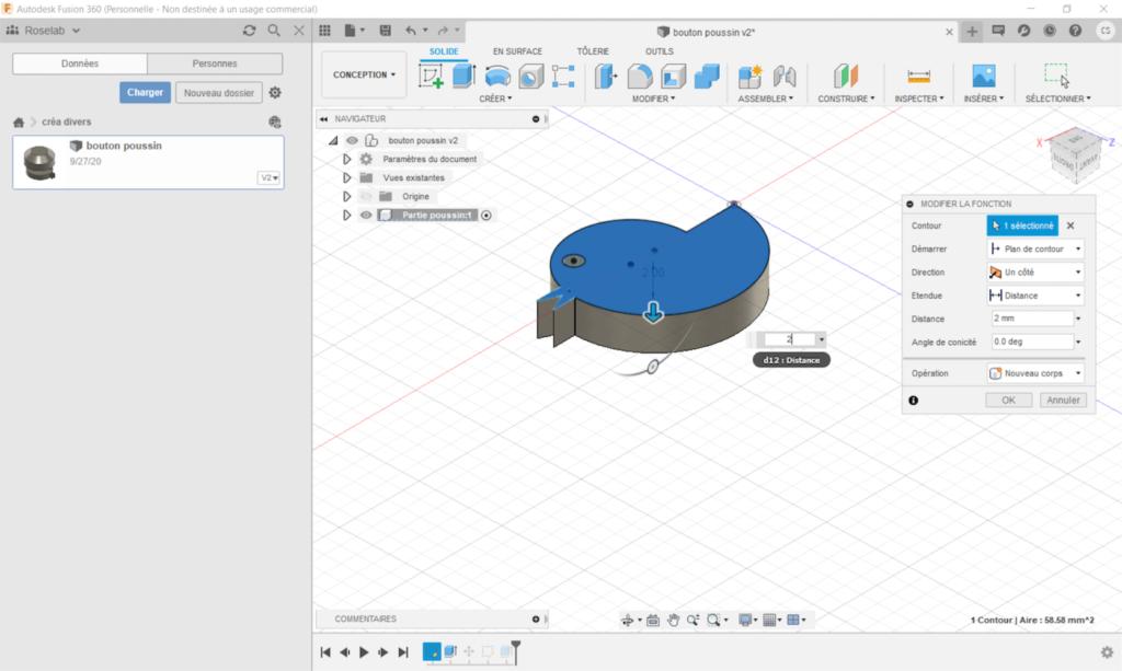 Une capture d'écran de la conception 3D sur Fusion 360.