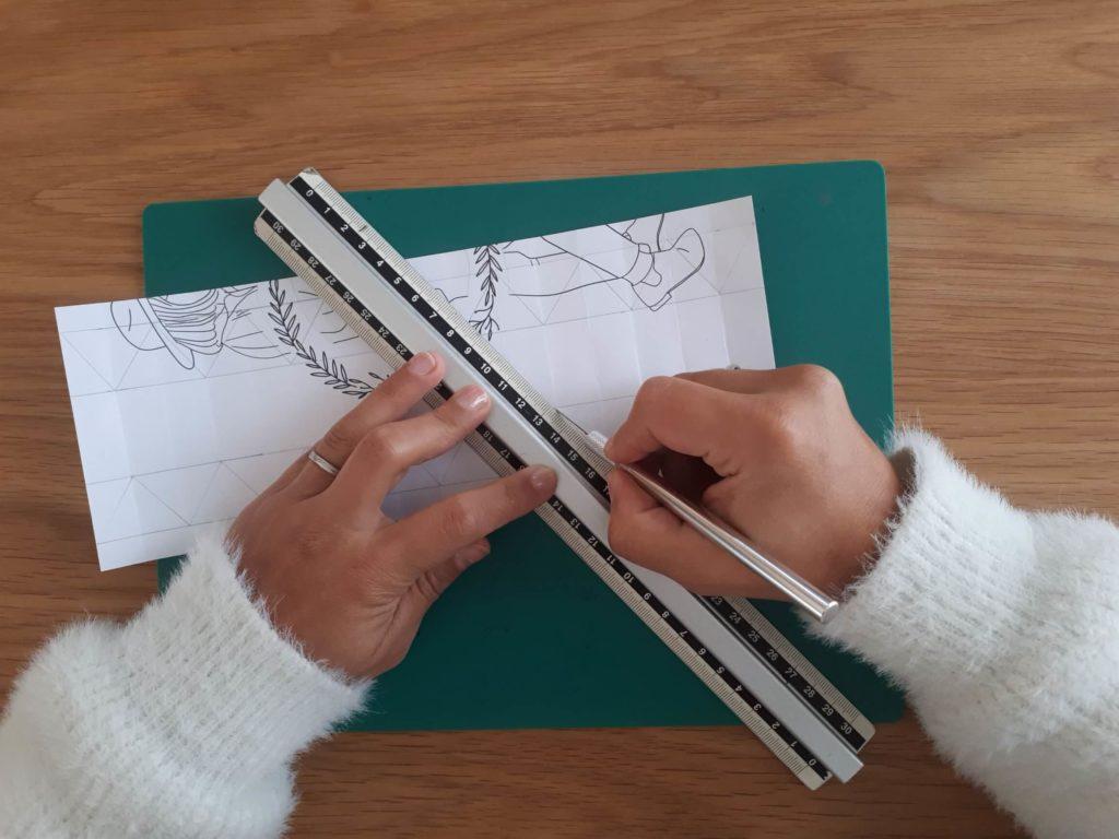 Marquage plis vase origami