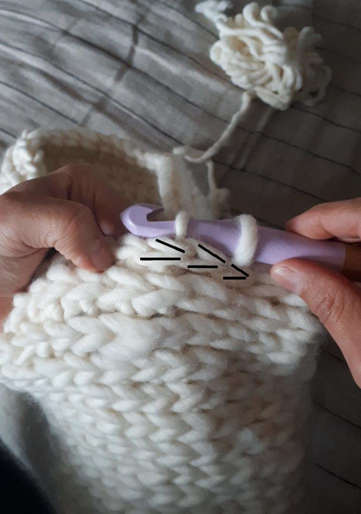 Mailles extérieures coussin crochet
