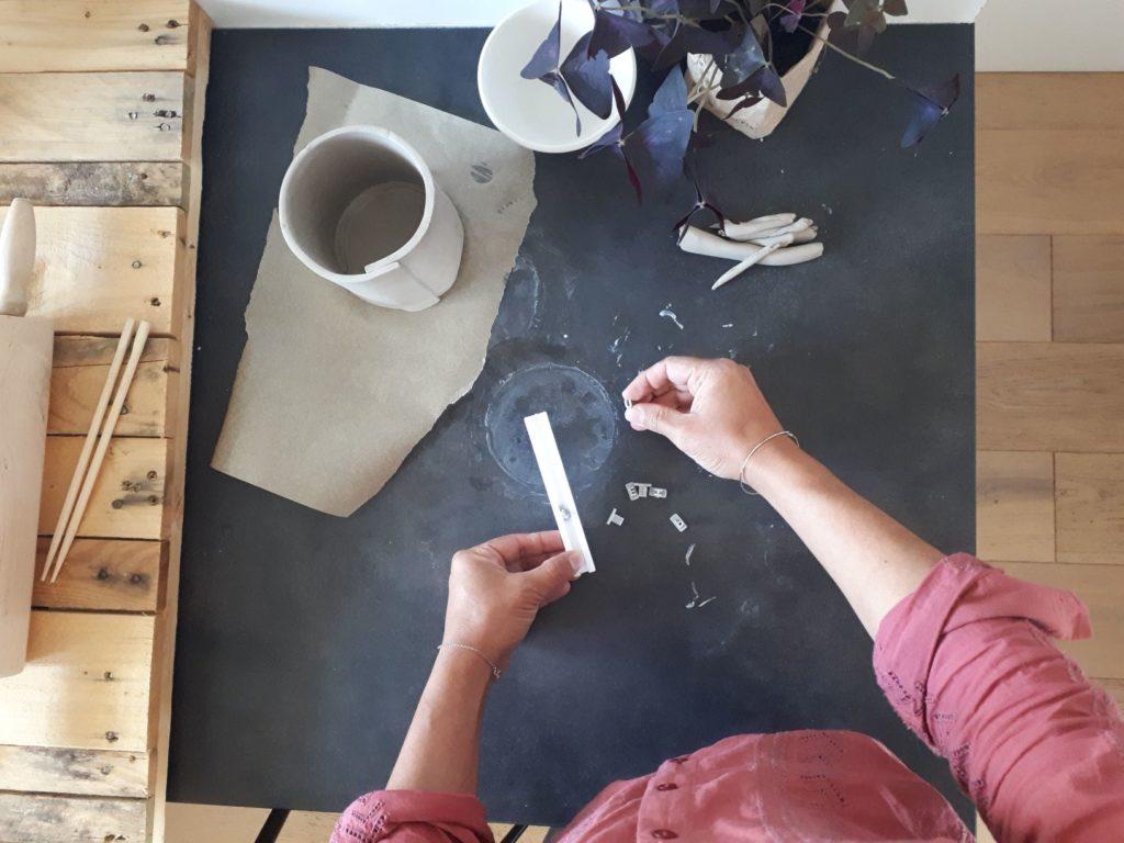 Cache-pot : préparation lettres à graver